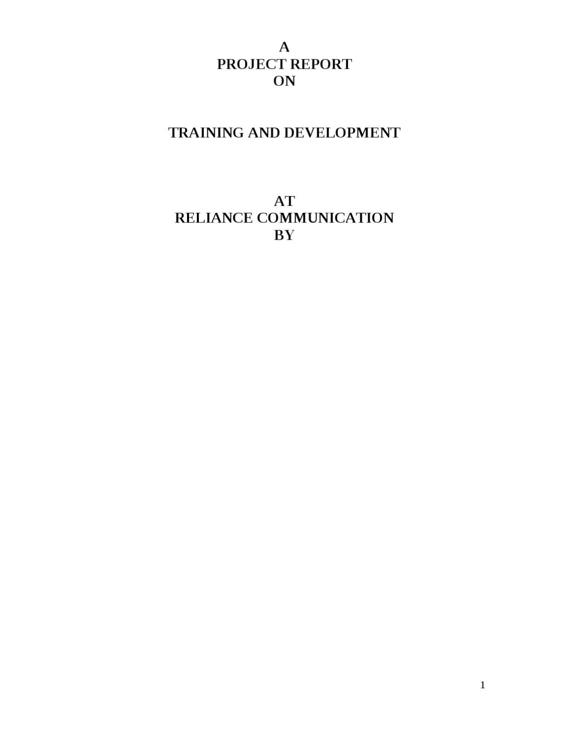 project report on reliance communication Project topics human resource management mba organizational culture with reference to reliance communications a project report on employee.