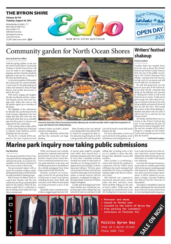 Byron Shire Echo – Issue 26 10 – 16/08/2011