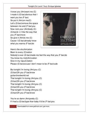 Tonight (I\'m Lovin\' You)- Enrique Iglesias : Guitar Chords by g ...