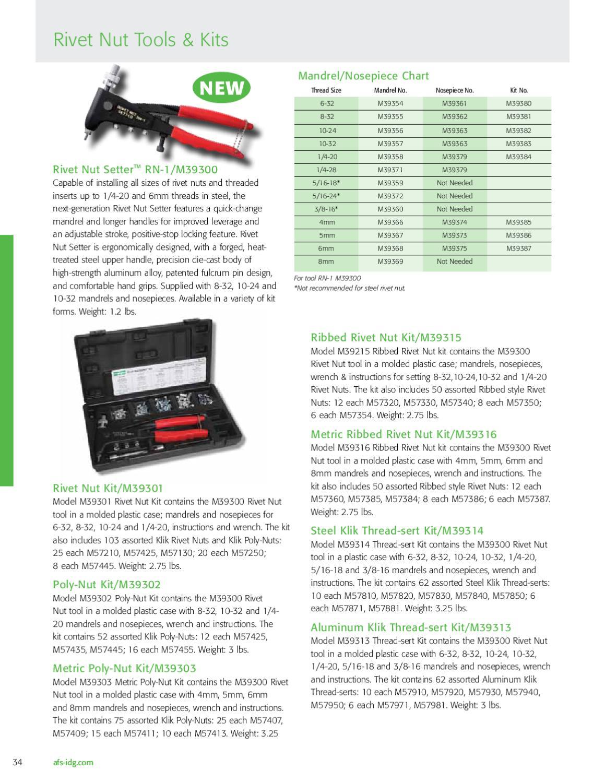 Marson Rivet, Rivet Nuts, and Installation Tools Catalog by
