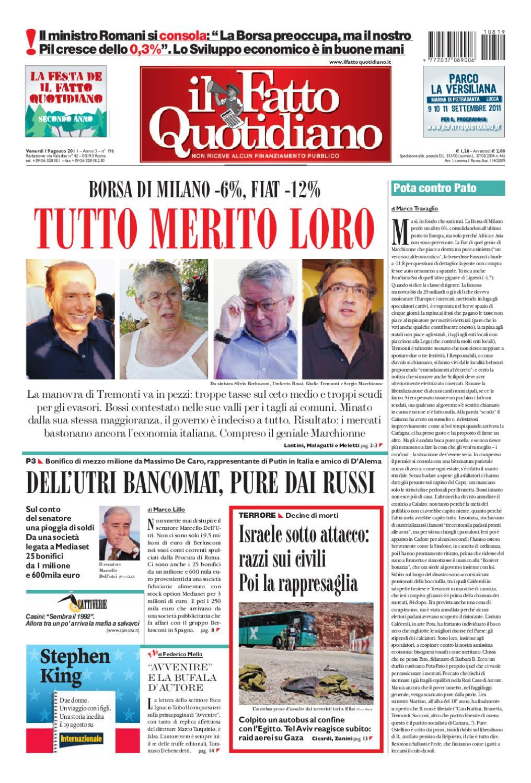 Il Fatto Quotidiano 19 Agosto 2011 by Dan Passegua - issuu 7f2603e66c0a