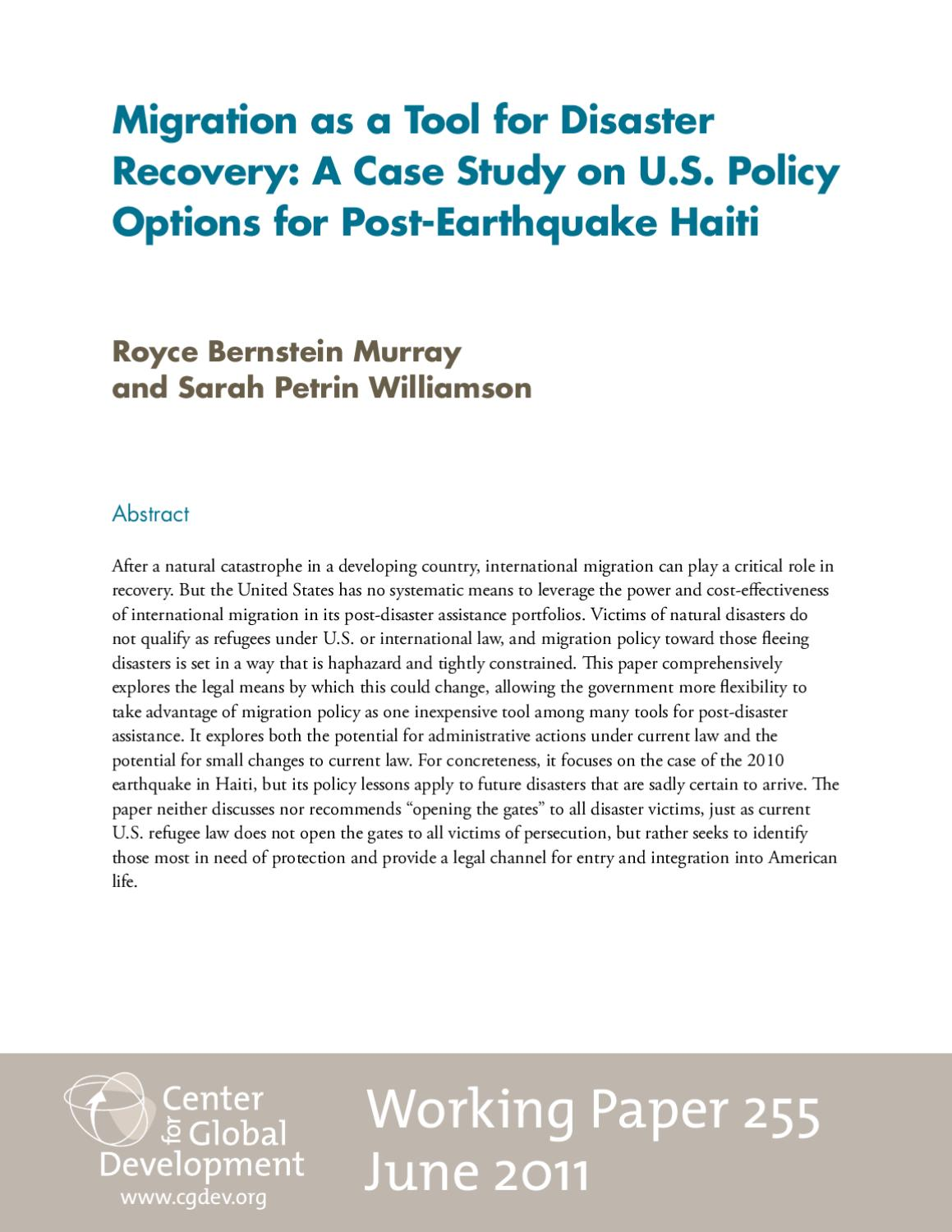 Migration as a Tool for Disaster Recovery: Haiti Case Study by