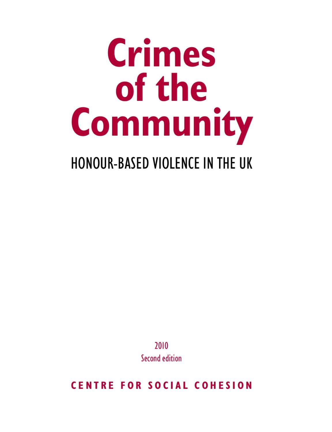 Crimes of the Community: Honour Based Violence In the UK by Jettinder mall  - issuu