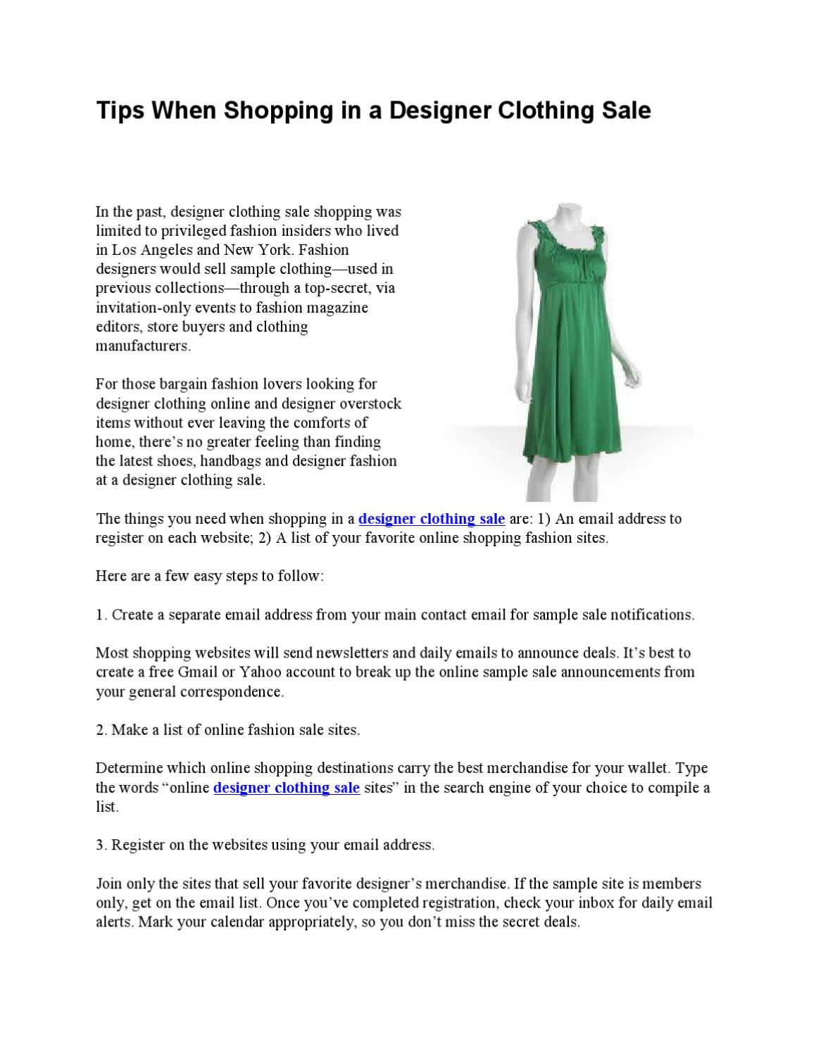 e9b2342910 Tips When Shopping in a Designer Clothing Sale by Fashion Tips - issuu