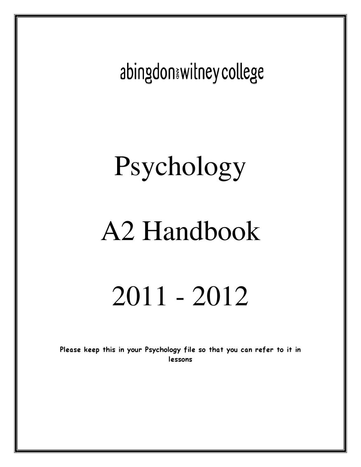 A2 psychology coursework help