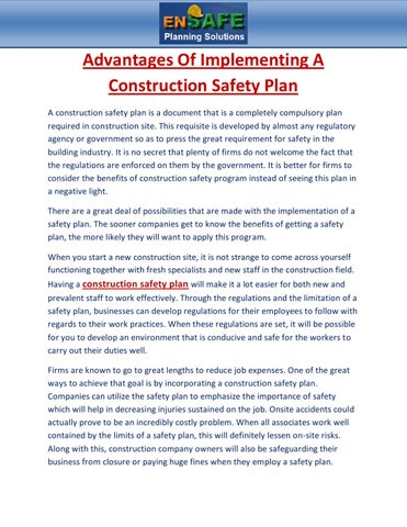 Advantages Of Implementing A Construction Safety Plan By Martin