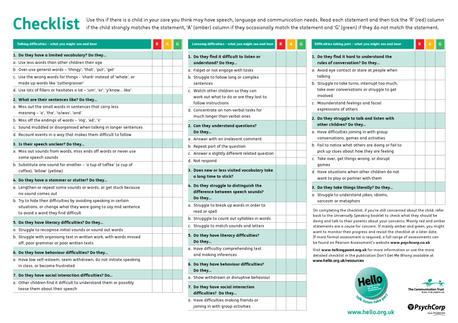 Universally Speaking Primary Checklist by Pearson Assessment - issuu