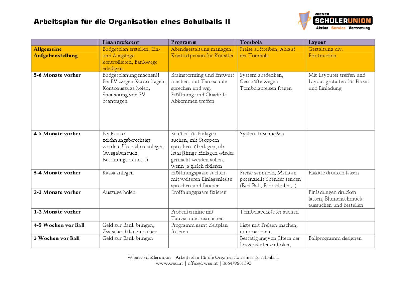 Arbeitsplan für die Organisation eines Schulballs II by Schülerunion ...