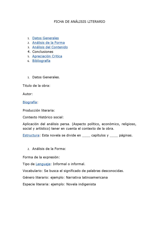 Ficha Para Realizar Analisis Literario By Azucena Figeroa