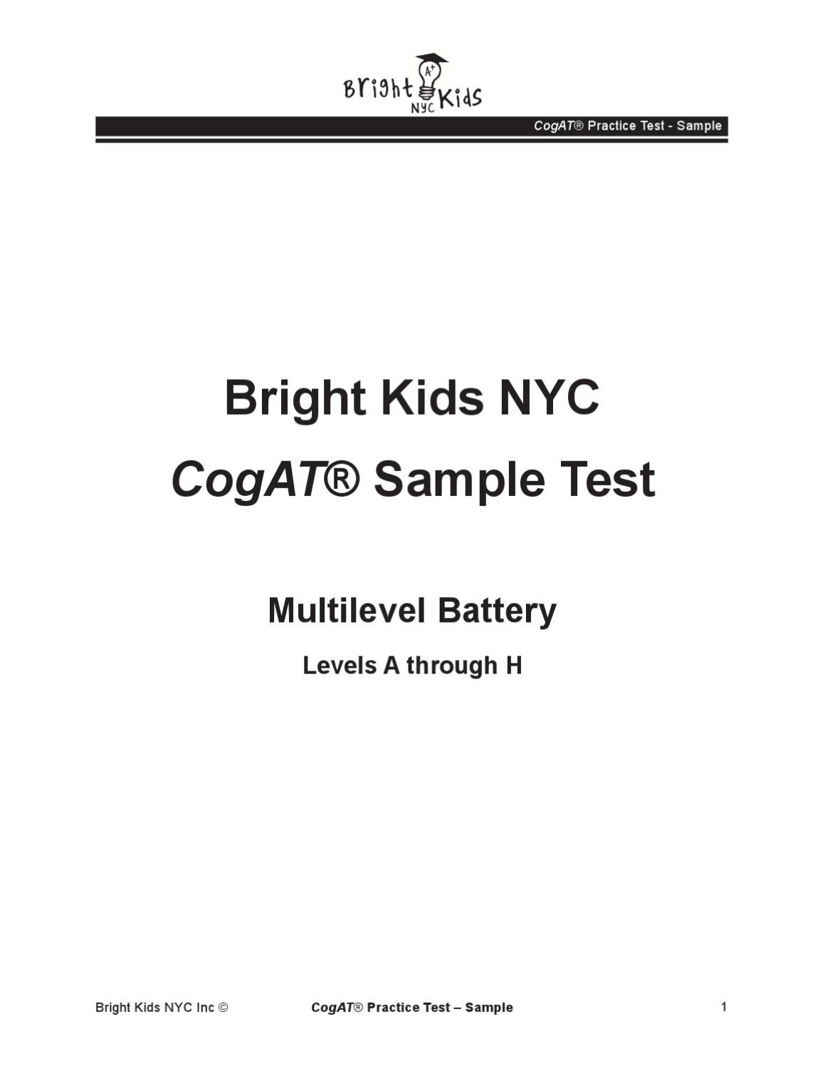 Cogat Test Prep Questions By Bright Kids Nyc Issuu