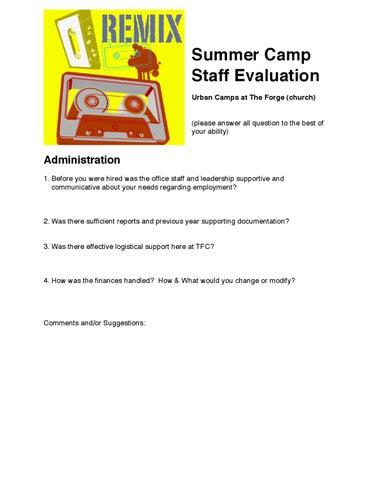 Summer Staff Evaluation Form By John Thwaites  Issuu