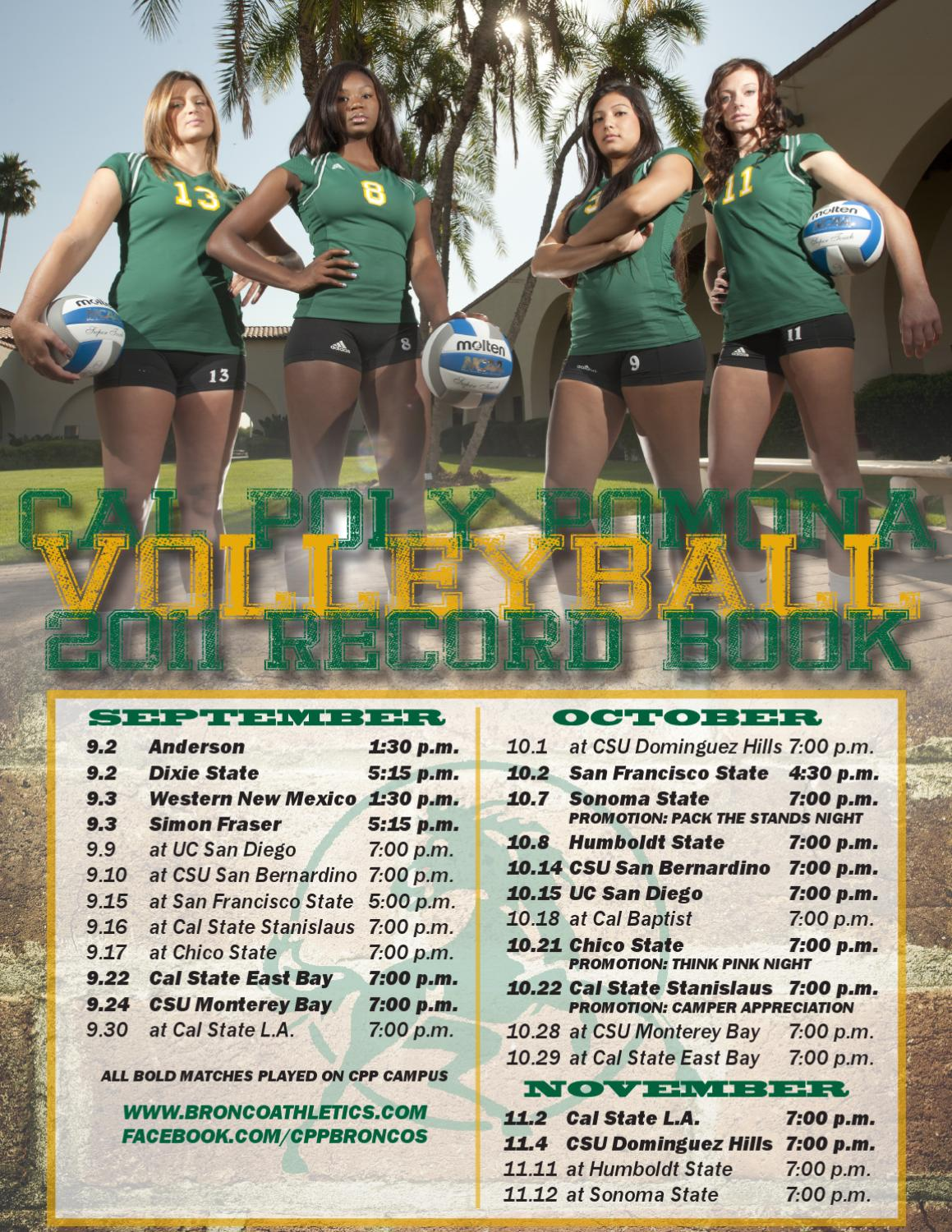 2011 Cal Poly Pomona Volleyball Record Book By Billy Bronco Issuu
