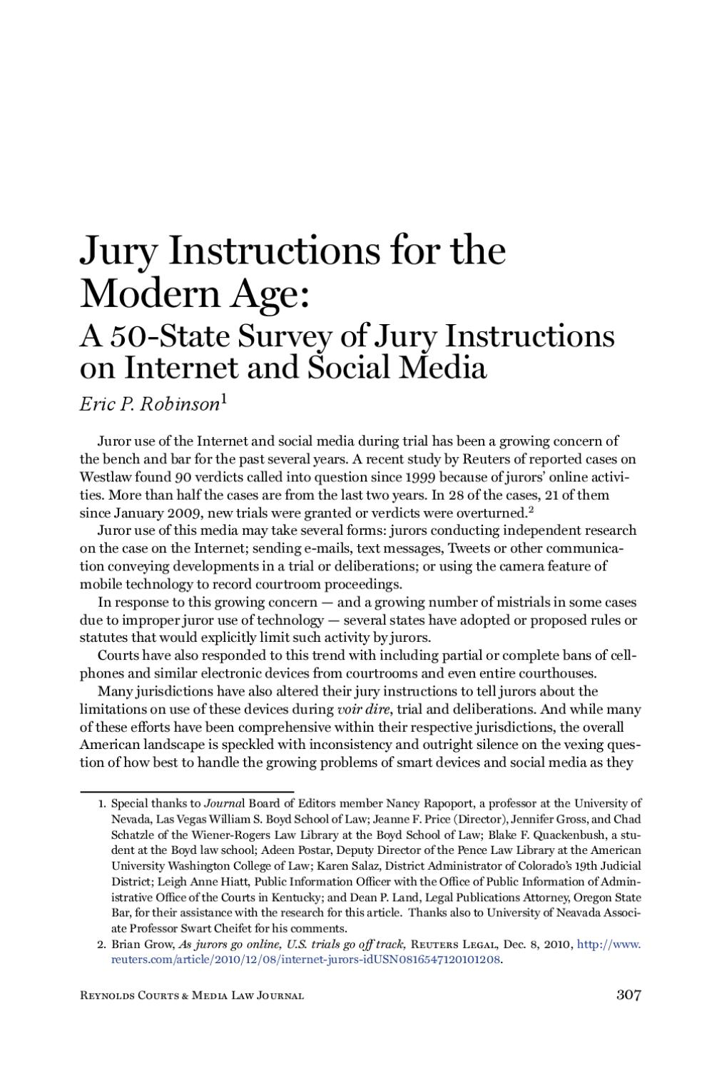 Jury Instructions for the Modern Age by Reynolds National Center ...