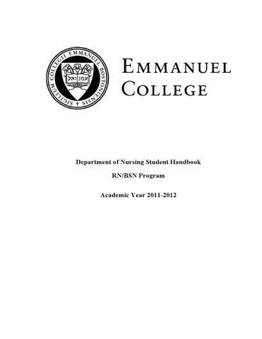 Revisedstuhdbk11 12fapdf by emmanuel college issuu department of nursing student handbook rnbsn program academic year 2011 2012 fandeluxe Images