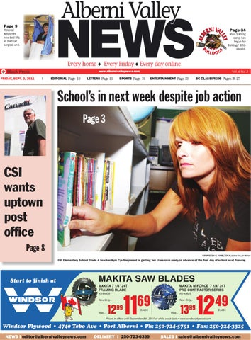 Friday, Sept. 2, 2011 Alberni Valley News by Alberni Valley