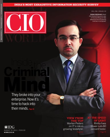 VOL/06 | IssuE/10 parag deodhar, Bharti AXA general Insurance, says  criminal profiling can help defeat the trend of planting snitches in  companies.