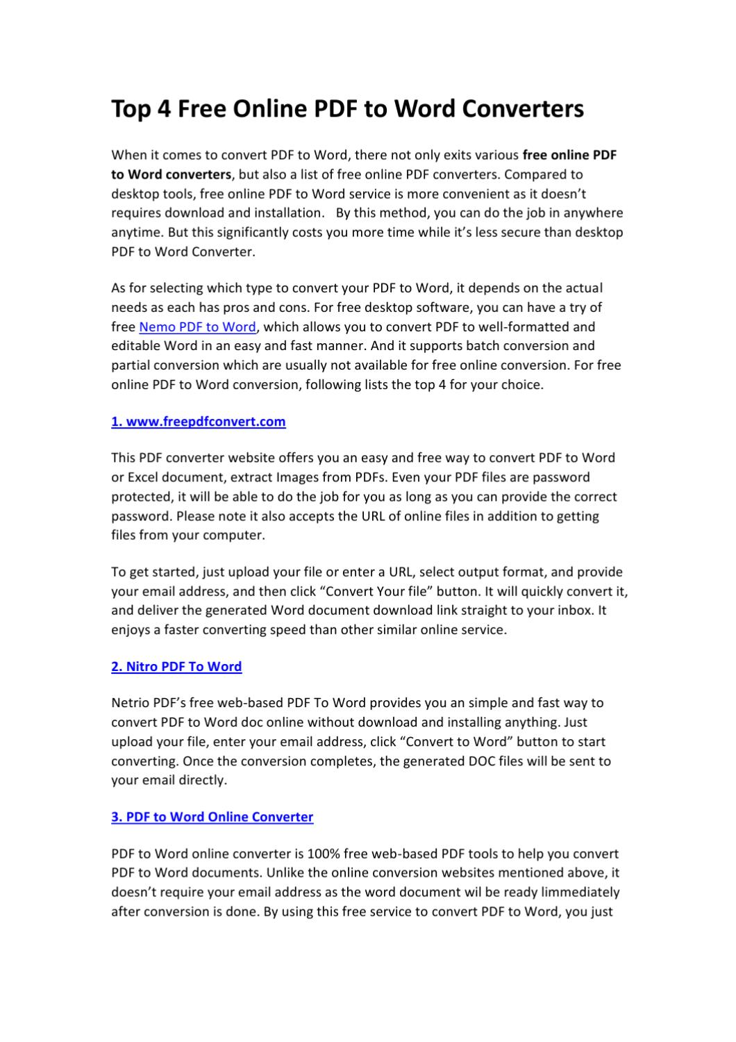 Top 4 Free Online PDF to Word Converters by sarina lee - issuu
