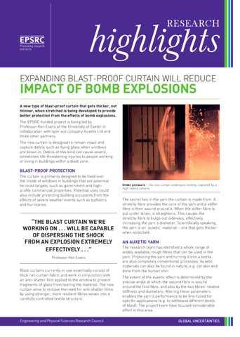 Expanding blast-proof curtain will reduce impact of bomb