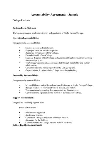 Learning through feedback accountability agreement for Accountable plan template