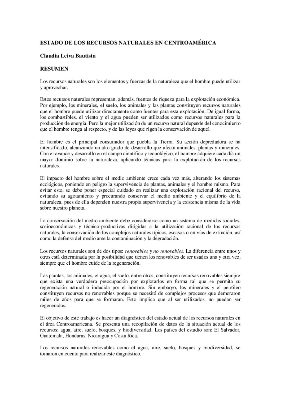 Estado de los recursos naturales en Centroamérica by Investigación ...