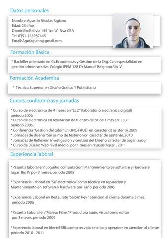 Curriculum Vitae By Agustin Fagiano Issuu
