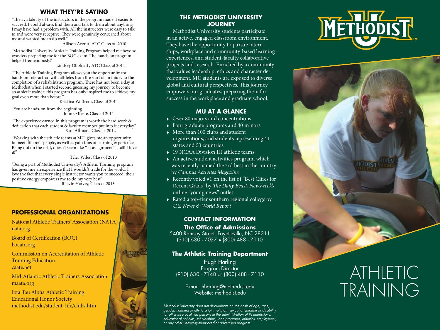 Athletic Training By Methodist University Issuu