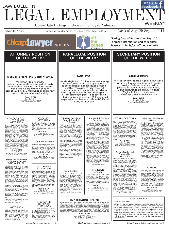 Law Bulletin Legal Employment Weekly by Myles Ahearn - issuu