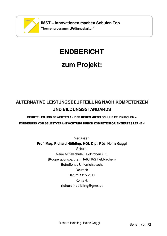 Alternative Leistungsbeurteilung an der NMS Fe by Richard Hölbling ...