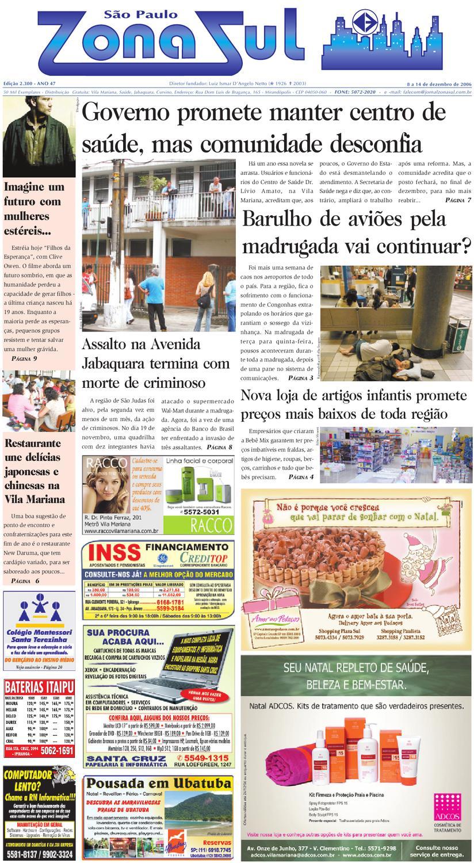 d7aacf513 08 a 14 de dezembro de 2006 - Jornal São Paulo Zona Sul by Jornal Zona Sul  - issuu