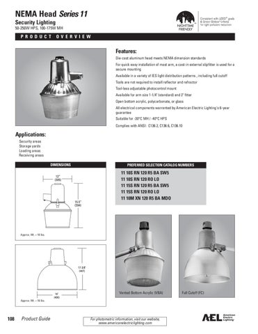 NEMA Head Series 11 Security Lighting 50-250W HPS 100-175W MH  sc 1 st  Issuu & American Electric Lighting Catalog by Alcon Lighting - issuu