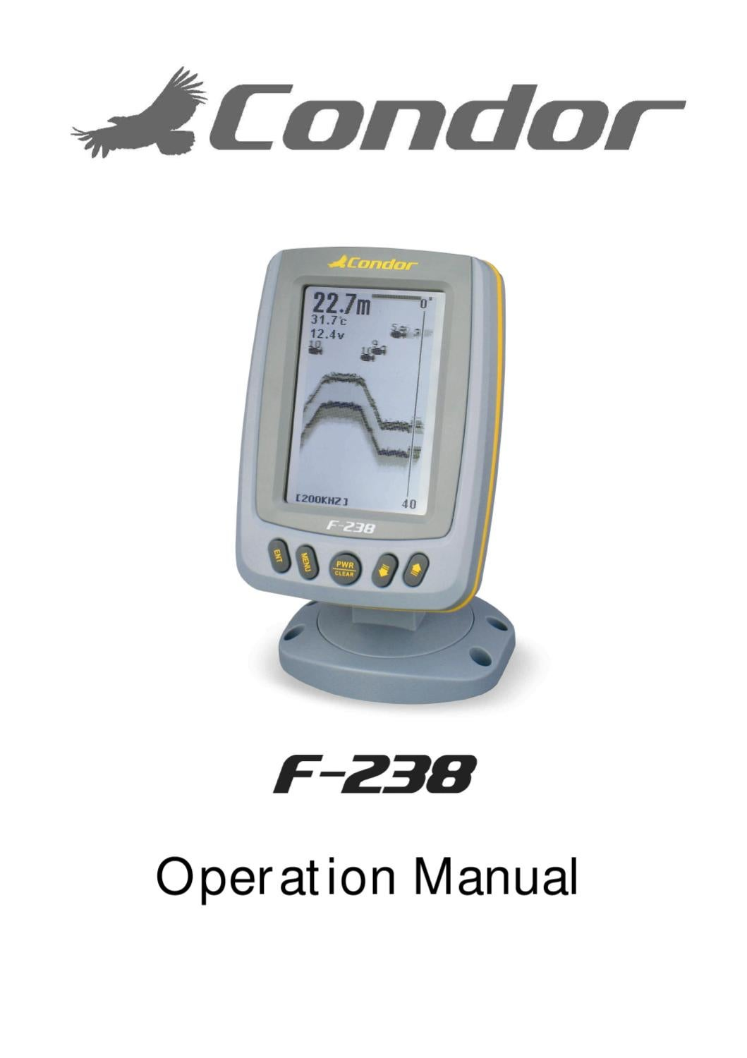 Condor Fish Finder F 238 User Manual By Jarvis Walker Issuu Wiring Diagram For Depth