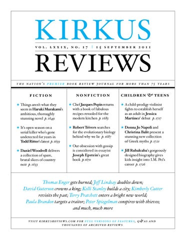 b8d0b2678bb8 September 15, 2011: Volume LXXIX, No 17 by Kirkus Reviews - issuu