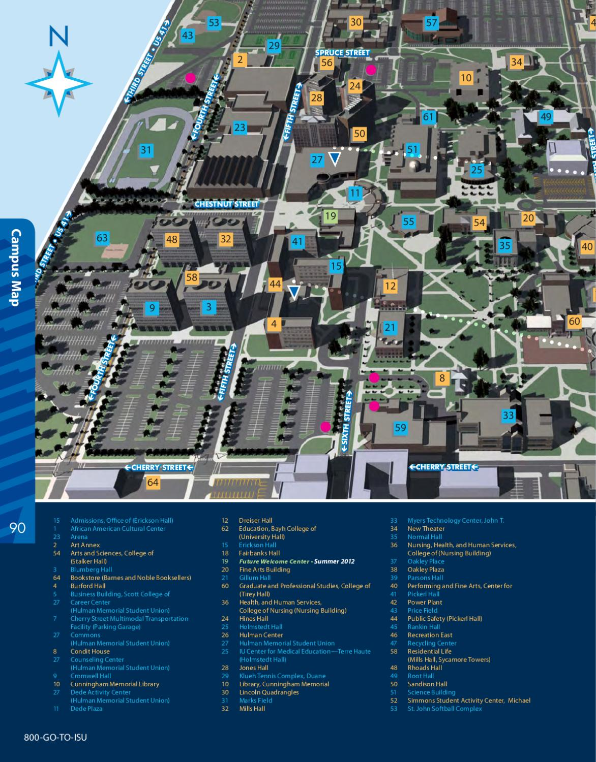 indiana state campus map Indiana State University Viewbook 2011 By Indiana State University indiana state campus map