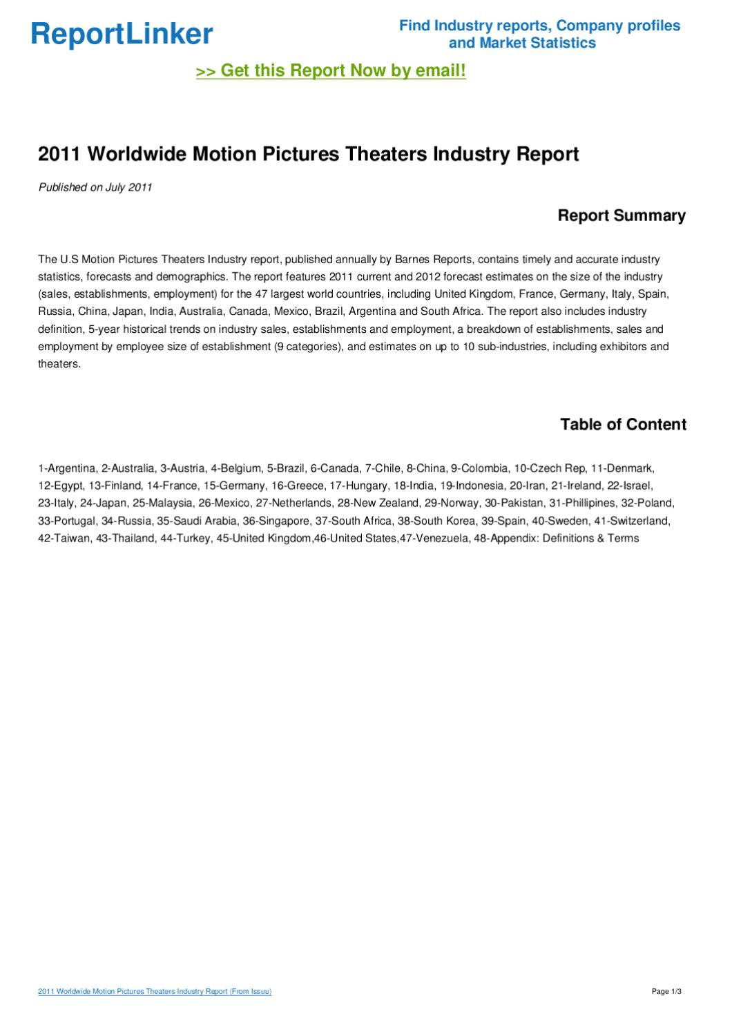 motion picture industry report Case study 1: motion picture industry - chapter 2 due september 8, 2016 by 6pm 10% penalty for each day late the motion picture  items in your report 1.