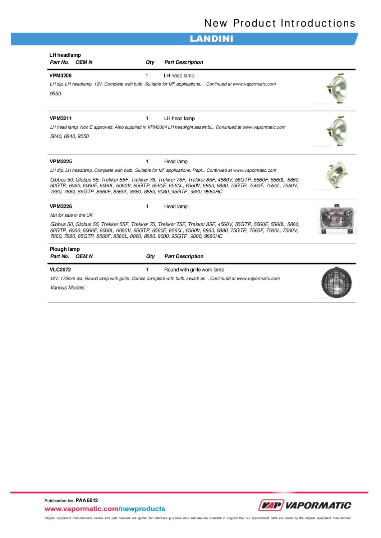 Vapormatic Landini Replacement Parts By The Vapormatic Co Ltd