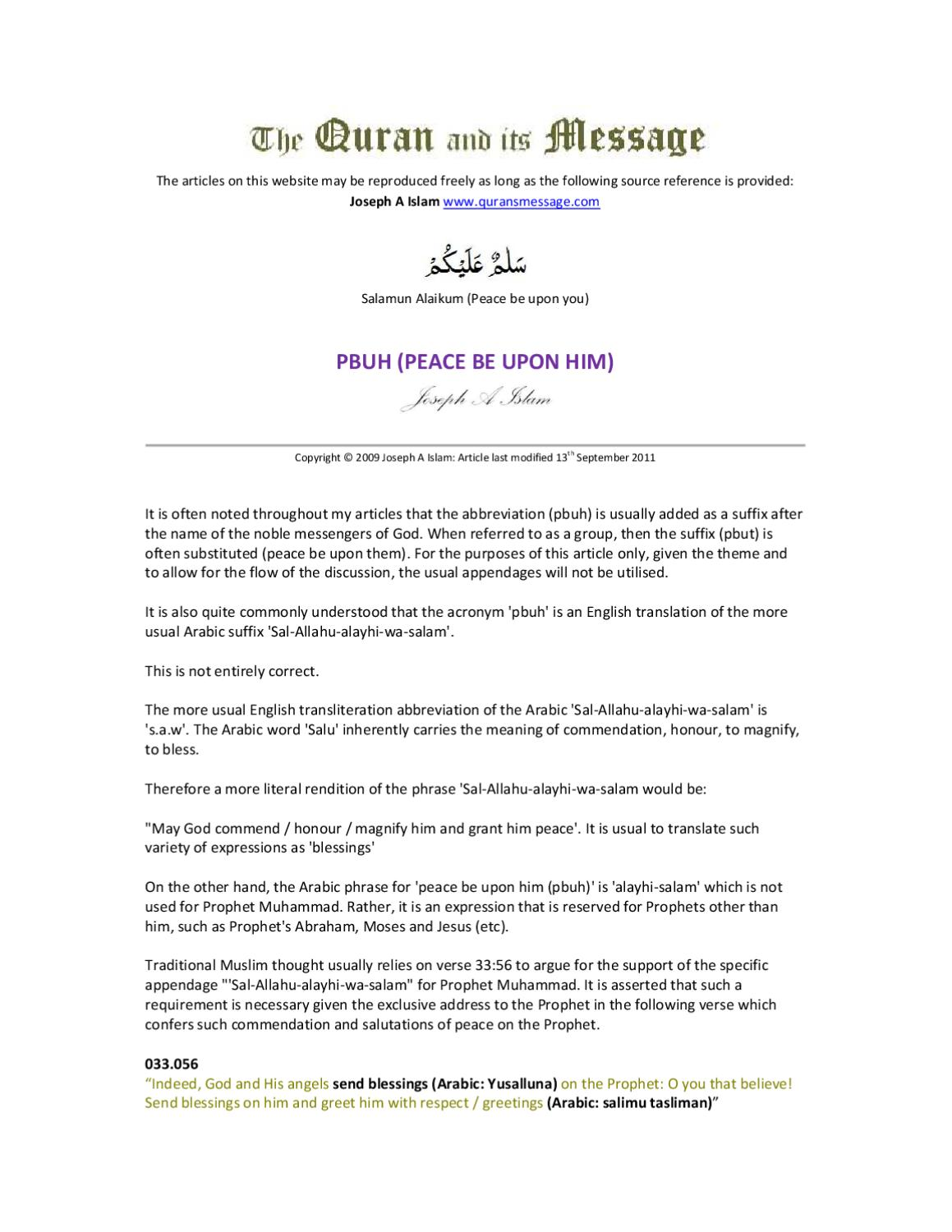 Pbuh Peace Be Upon Him By Simone Powers Issuu