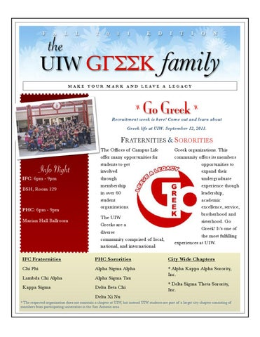 The Uiw Greek Family By University Of The Incarnate Word Campus Life