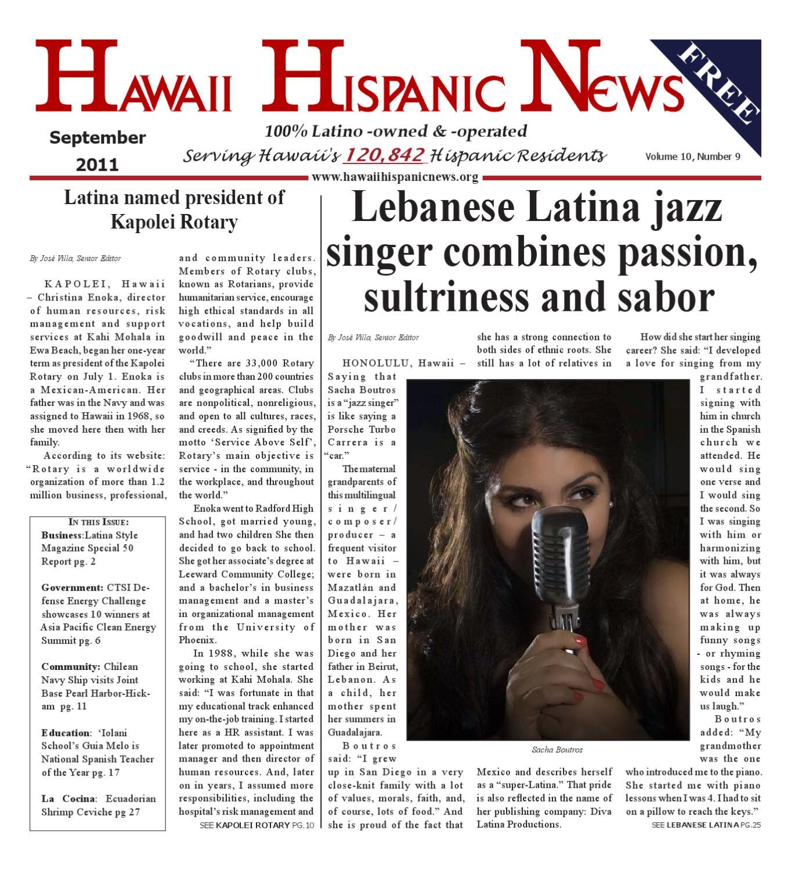 Hawaii Hispanic News September 2011 Issue by Hawaii Hispanic