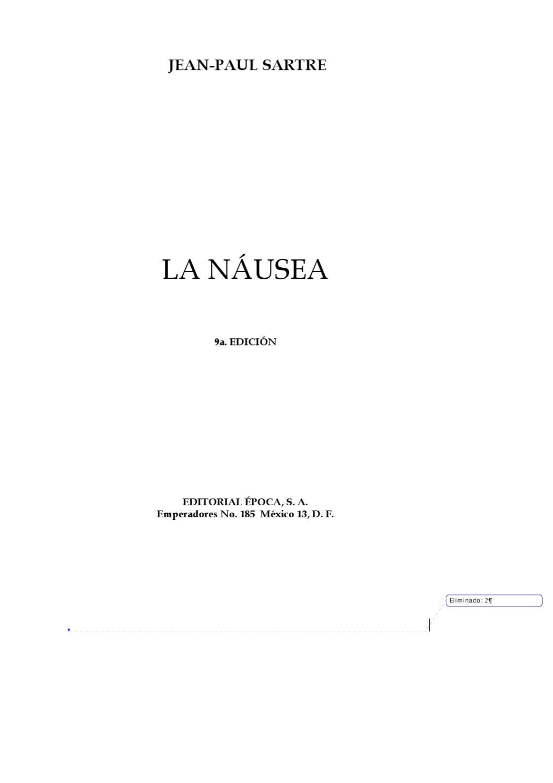 La Nausea Sartre By David Berisso Issuu