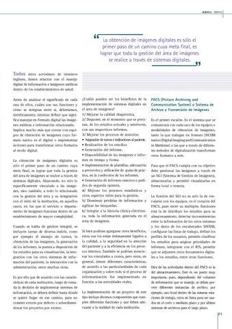 Page 21 of RIS; PACS; SGI; HIS Y OTRAS SIGLAS: ¿QUÉ SIGNIFICAN Y CÚALES SON LOS BENEFICIOS DE SU IMPLEMENTACIÓN?