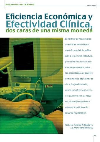 Page 27 of EFICIENCIA, ECONOMÍA Y EFECTIVIDAD CLÍNICA, DOS CARAS DE UNA MISMA MONEDA.