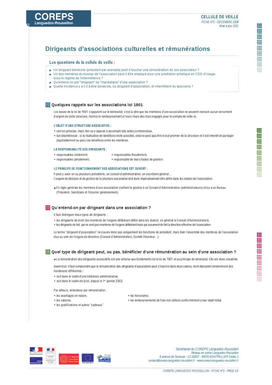 Fiche Pratique Coreps Dirigeants D Associations Culturelles By
