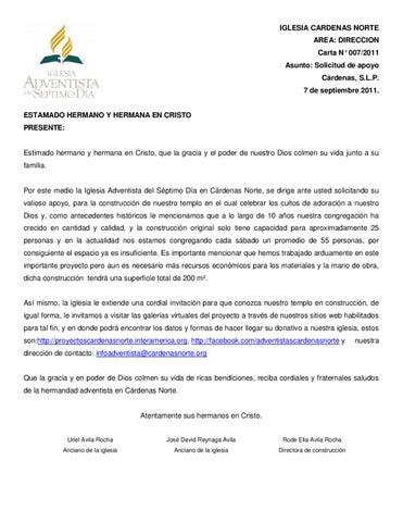 Carta especial by iglesia adventista del s ptimo d a - Solicitar tarjeta club dia ...