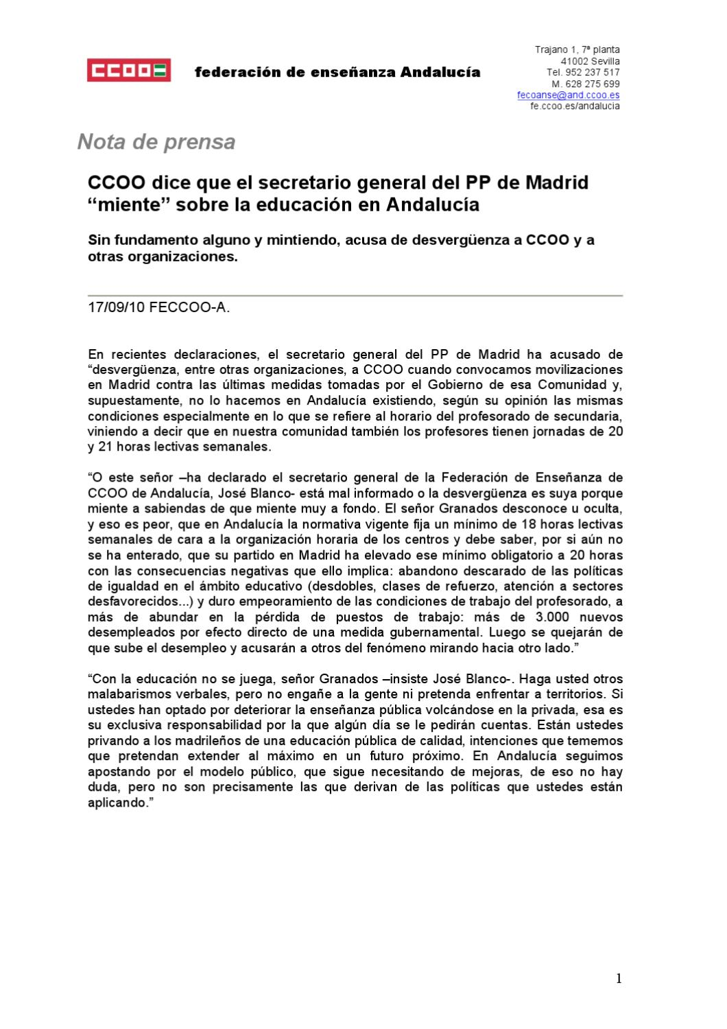 Nota prensa 17 09 2010 by federaci n de ense anza de ccoo for Ccoo ensenanza madrid