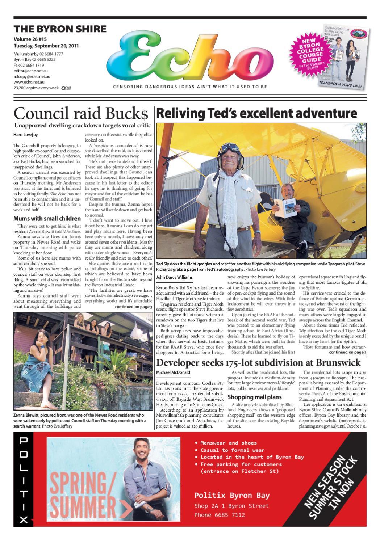 Byron Shire Echo – Issue 26.15 – 21/09/2011 by Echo Publications - issuu