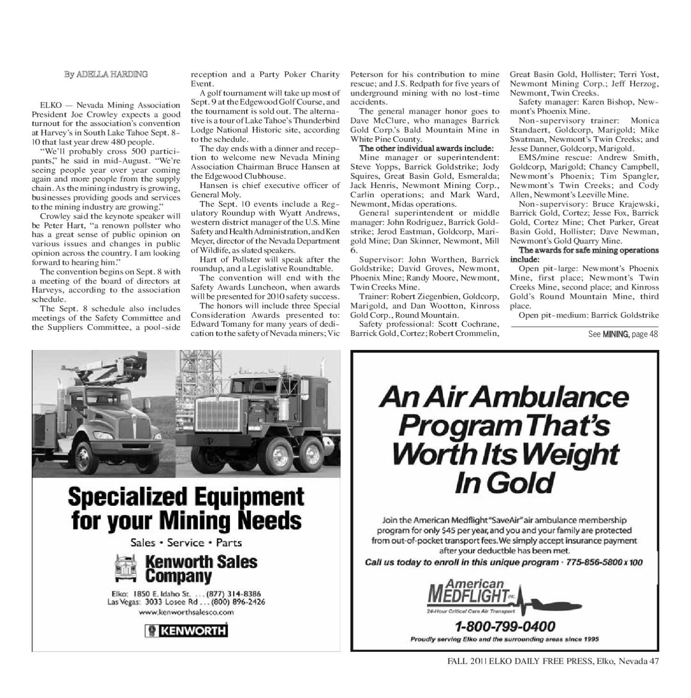 MINING QUARTERLY FALL 2011 by The Elko Daily Free Press issuu