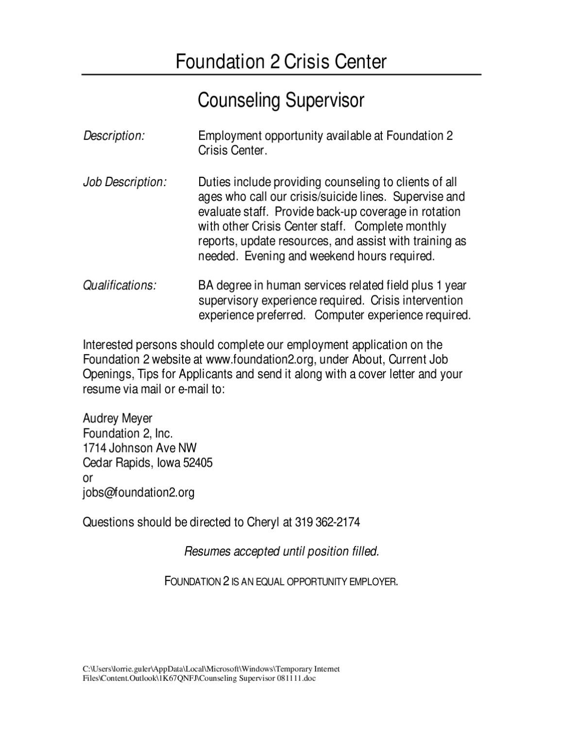 Counseling Supervisor 081111 by Acap Fort Drum - issuu
