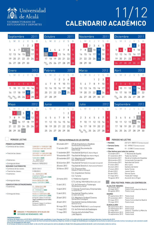 Uah Calendario Academico.Calendario Academico Uah 2011 2012 By Universidad De Alcala Issuu