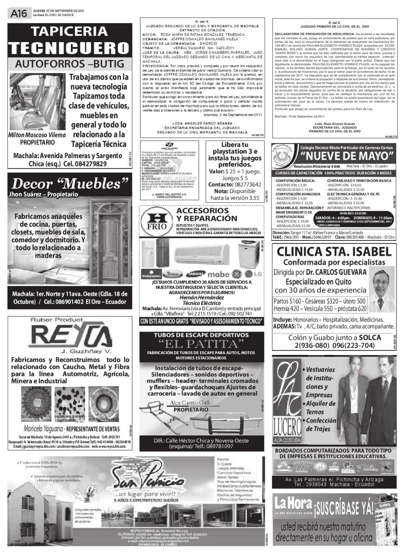 Reyca Banos.Diario La Hora El Oro 22 De Septiembre 2011 By Diario La