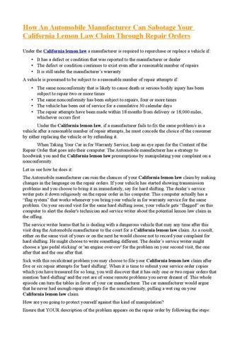 Lemon Law California >> California Lemon Law Claim By Andrew Marks Issuu